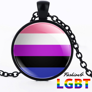 Necklace - 18 Flags Black / Genderfluid