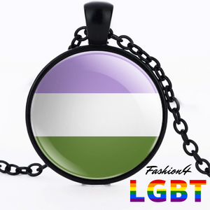 Necklace - 18 Flags Black / Genderqueer