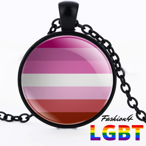 Necklace - 18 Flags Black / Lesbian