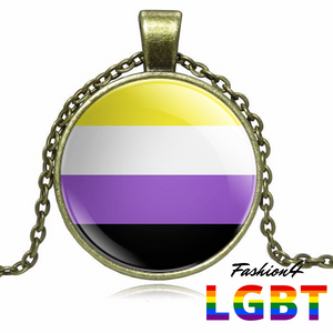 Necklace - 18 Flags Bronze / Non-Binary