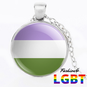 Necklace - 18 Flags Silver / Genderqueer