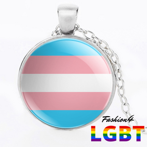 Necklace - 18 Flags Silver / Transgender