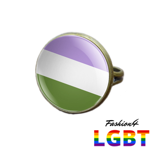 Pride Ring - 18 Flags Bronze / Genderqueer