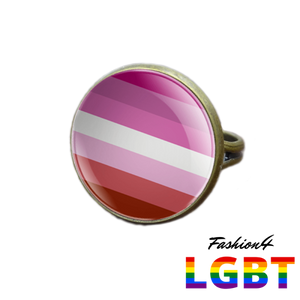 Pride Ring - 18 Flags Bronze / Lesbian