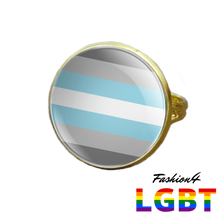 Pride Ring - 18 Flags Gold / Demiboy