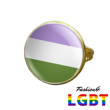 Pride Ring - 18 Flags Gold / Genderqueer