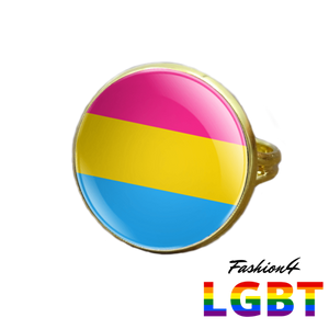 Pride Ring - 18 Flags Gold / Pansexual