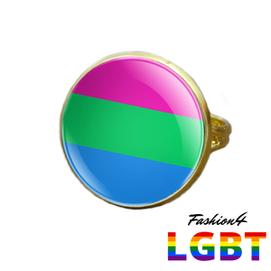 Pride Ring - 18 Flags Gold / Polysexual