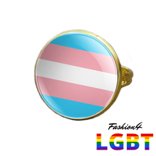 Pride Ring - 18 Flags Gold / Transgender
