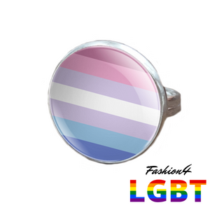 Pride Ring - 18 Flags Silver / Bigender