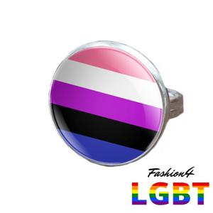 Pride Ring - 18 Flags Silver / Genderfluid