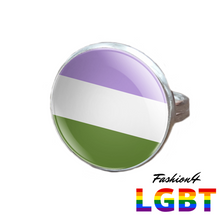 Pride Ring - 18 Flags Silver / Genderqueer
