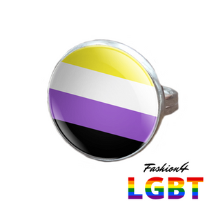 Pride Ring - 18 Flags Silver / Non-Binary