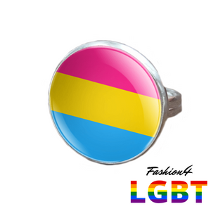 Pride Ring - 18 Flags Silver / Pansexual