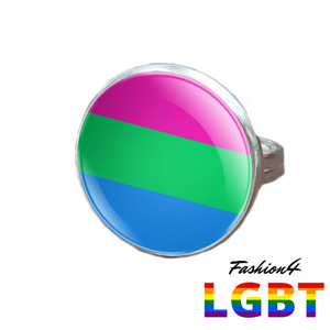 Pride Ring - 18 Flags Silver / Polysexual