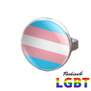 Pride Ring - 18 Flags Silver / Transgender