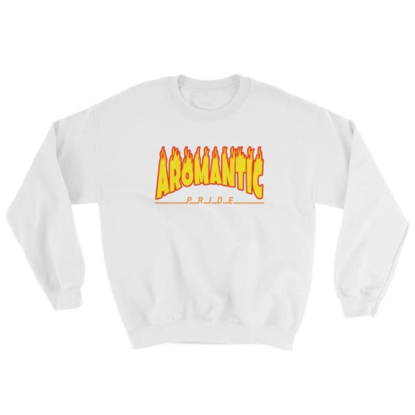 Sweatshirt - Aromantic Flames White / S