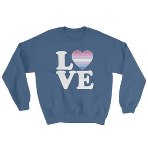 Sweatshirt - Bigender Love & Heart Indigo Blue / S