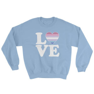 Sweatshirt - Bigender Love & Heart Light Blue / S