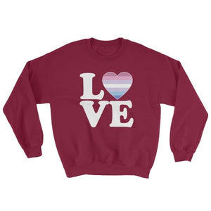 Sweatshirt - Bigender Love & Heart Maroon / S