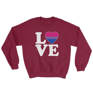 Sweatshirt - Bisexual Love & Heart Maroon / S