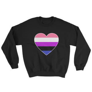 Sweatshirt - Genderfluid Big Heart Black / S