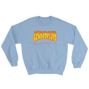 Sweatshirt - Genderfluid Flames Light Blue / S