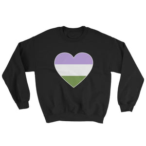 Sweatshirt - Genderqueer Big Heart Black / S
