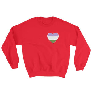 Sweatshirt - Genderqueer Heart Red / S