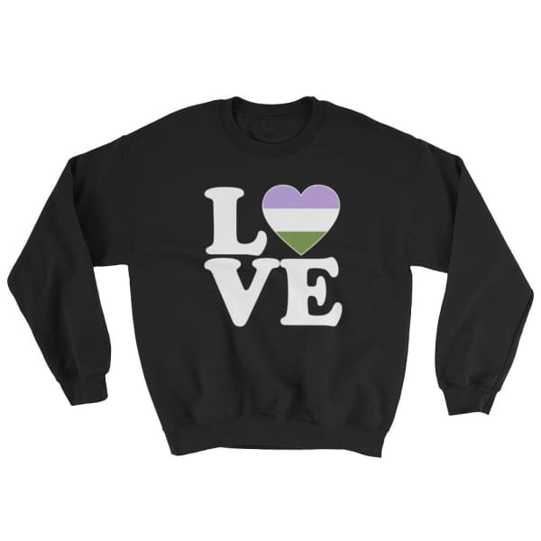 Sweatshirt - Genderqueer Love & Heart Black / S