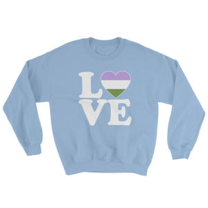 Sweatshirt - Genderqueer Love & Heart Light Blue / S