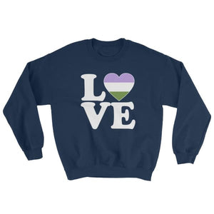 Sweatshirt - Genderqueer Love & Heart Navy / S
