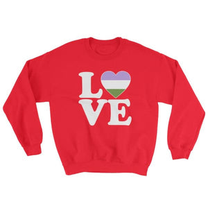 Sweatshirt - Genderqueer Love & Heart Red / S