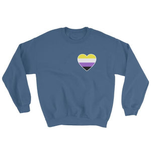 Sweatshirt - Non Binary Heart Indigo Blue / S