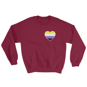 Sweatshirt - Non Binary Heart Maroon / S
