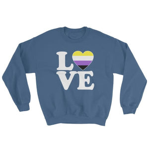 Sweatshirt - Non Binary Love & Heart Indigo Blue / S