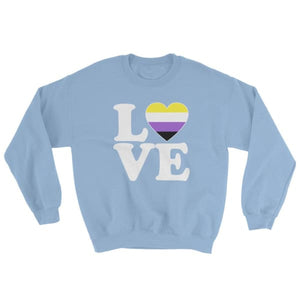 Sweatshirt - Non Binary Love & Heart Light Blue / S
