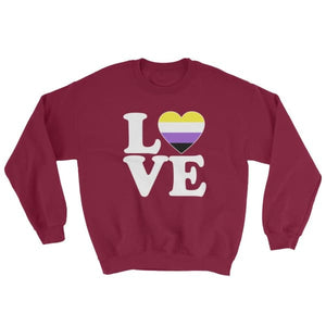 Sweatshirt - Non Binary Love & Heart Maroon / S