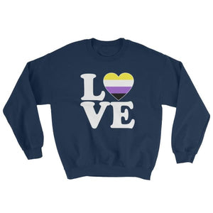 Sweatshirt - Non Binary Love & Heart Navy / S