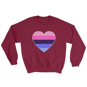 Sweatshirt - Omnisexual Big Heart Maroon / S
