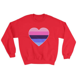 Sweatshirt - Omnisexual Big Heart Red / S