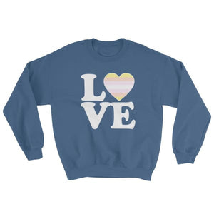 Sweatshirt - Pangender Love & Heart Indigo Blue / S