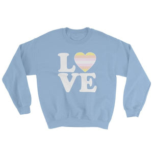 Sweatshirt - Pangender Love & Heart Light Blue / S
