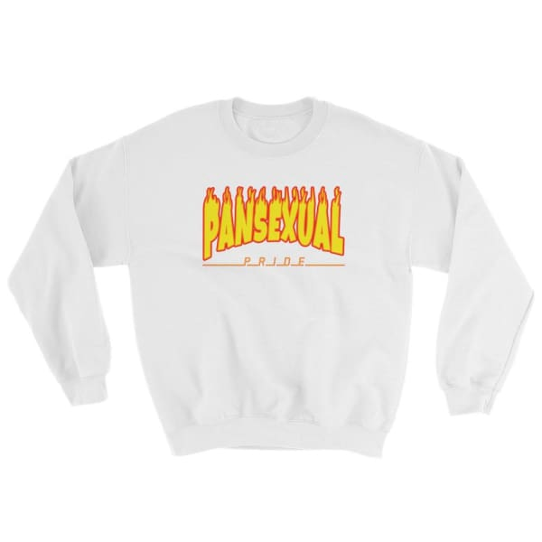 Sweatshirt - Pansexual Flames White / S