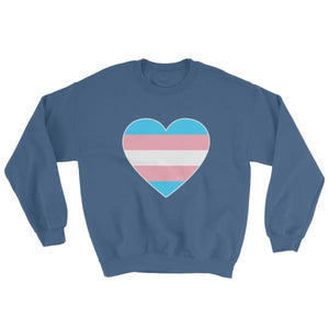 Sweatshirt - Transgender Big Heart Indigo Blue / S