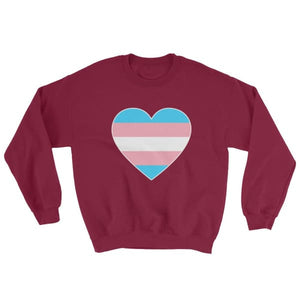 Sweatshirt - Transgender Big Heart Maroon / S