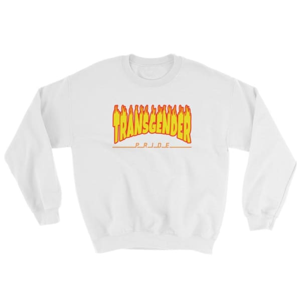 Sweatshirt - Transgender Flames White / S