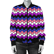 Womens Bomber Jacket - Genderfluid Honeycomb