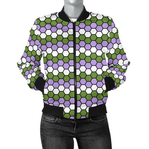 Womens Bomber Jacket - Genderqueer Honeycomb