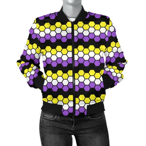 Womens Bomber Jacket - Non Binary Honeycomb